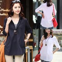 2014 Plus Size Korean Fashion Autumn Large Size Women Cotton Shirt Solid Color Black White Blouse Pullover Free Shipping