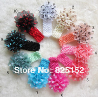 Polka Dot Chiffon Flower Kid Baby Girl Headband Hairbow Headwear Hairband  Hair Flower Clip,Infant Knitting Hair Accessiries