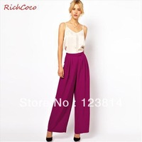 New 2013 Pants Women Casual Cute Front Pleats Loose Chiffon Wide Leg Autumn -Summer Girl's Leggings Free Shipping D053