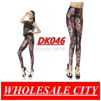 DROP SHIPPING New Style McQueen Skull Flowers Retro Black  Brand Leggings Women Wholesale