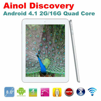 "Latest Ainol Novo 8 Discovery Quad Core 1.5GHz 8"" IPS Android 4.1 2GB RAM 16GB ROM Bluetooth HDMI Dual Camera White Tablet PC"