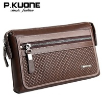 P.kuone new Korea fashion high capacity Cowskin Genuine leather day clutch bag handbag for men