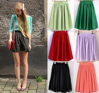 Retro High Waist Pleated Double Layer Chiffon Mini Sexy skirt 8 Colors Free Size [A07000201]