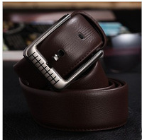 Brand New Authentic Men's Genuine Leather Belt Leisure Cowhide Belts Steel Stainless Buckle 110-120cm