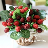 Real wicker round Storage Basket Vase with Strawberry Fruit Artificial Flowe Home Decor  Wedding Decorations Decorative Flowers