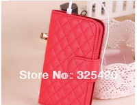 Hot sale luxury PU leather flip wallet card slot case cover for iphone 5 5S, 7 colors, MOQ1pcs retail by free shipping