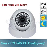 700 TVL Sony CCD Effio Vari-Focal 2.8 ~12mm Outdoor 36IR LEDs Night Vision Security  Dome Camera with CCTV OSD Menu