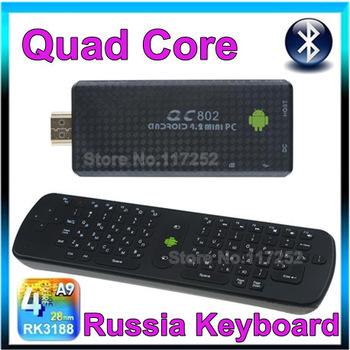 QC802 Andriod 4.2.2 TV Stick Mini PC RAM 2GB ROM 8G Quad core RK3188 Bluetooth TV Box Wifi HDMI +Russian Keyboard RC11 air mouse