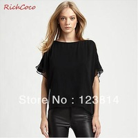 New 2013 Autumn -Summer Women Chiffon Shirt Fresh Double Layer Ruffles Slash Neck Plus Size Short Sleeves Free Shipping C019