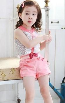 New Arrival 2014  girl suit  Size 100-140cm summer sleeveless t shirt + pants 2pcs children sets Retail cz0099