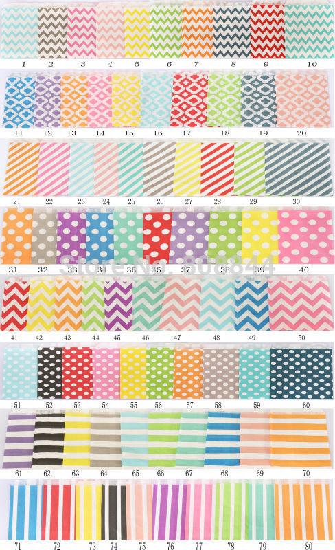 10000pcs/lot Paper Favor Bags, 12.5x17.5cm Party Food Paper Bag,80 colors option(China (Mainland))