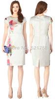 Free shipping New women elegant floral print DUCHESS SATIN DRESS Summer o-neck short-sleeve intellectuality print dress