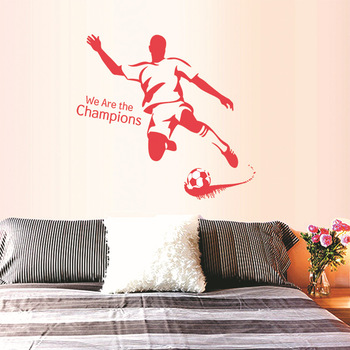 Free Shipping 3 Colors PVC We Are The Champions Football Wall Stickers kids room Decoration Sticker removable Vinly Wall Decals