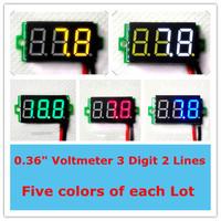 """mini 0.36"""" Digital voltmeter 3 digit 2 wires  Five colors DC3.2-30V led Vehicles Motor Voltage panel meter [10pcs/ lot]"""
