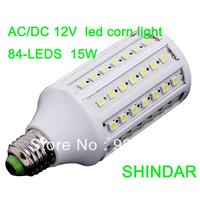 Best price AC/DC12V led lamps 15w 84pcs 1500lm corn light bulb E27/E14/B22 free shipping