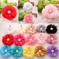 Trial order Vintage Chiffon Shabby Look Flowers  with pear diamond Flat Back 50PCS/LOT By angel baby headwear