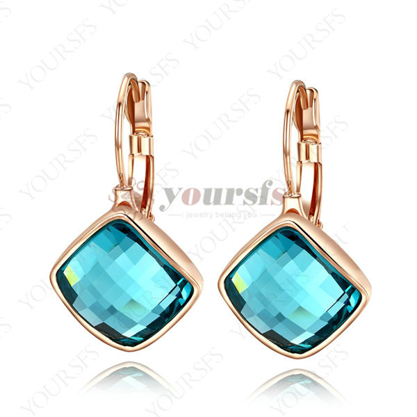 Brincos Ouro18K Gold Plated Shape Dangle Earrings Use Light Blue Rhombus Brinco Azul Earring The Fault In Our Stars E042R4(China (Mainland))