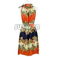 Women's Girl Halter Neck Bohemia Folded Printing Chiffon Long Maxi Dress Plus Size 2Colors dropshipping 14532 b015