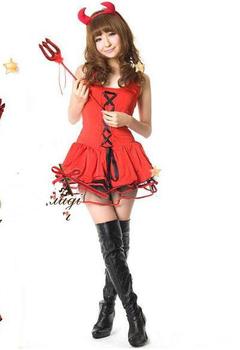Free Shipping Wholesale Sexy Ladies Car model Devil Costumes,Red Hallow Devil Dress,Women Demon Dress (Dress+Headwear+T-back)