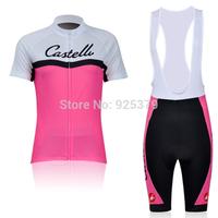 2011 Castelli Women's Short Sleeve Cycling Jersey / Cycling Bib Shorts / Cycling Shorts Women / Cycling Clothing Free Shipping