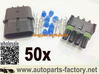 longyue 50 Kit Weatherpack 4 Pin Flat Sealed Wiring Connector Kit NEW!