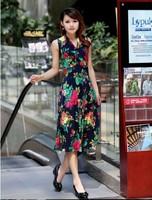 2013 women's Free Shipping  Bohemian Style Large Size  Flower Printed V-neck Long Dress  Size L/XL/XXL/XXXL  BJ13042318