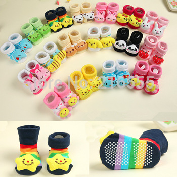 2015 Baby Socks Newborn With Animal Baby Boy Outdoor Shoes Baby Girl Anti-slip Walking Children Warm Sock kids Gift 24 piece/lot