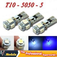 Hot!! 50pcs/Lot T10 W5W 194 Canbus Car LED 5 SMD Light Canbus 5 LED 5050 NO OBC ERROR White 12V Interior Car Light Source#YNB23