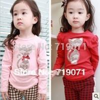 2014 Spring  autumn kitten rhinestones female child long-sleeve T-shirt child long-sleeve basic shirt