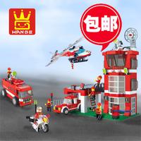 Free Shipping build block sets Fire Station 638pcs,firefighter enlighten bricks  educational blocks  boys toys  gifts.