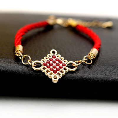 6pcs/lot Chinese Knot Red Rope Charm Bracelet Antiallergic Crystal Diamond 18K Rose Gold lab Women/ladies Bijouterie Jewellery(China (Mainland))