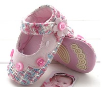Free shipping New hot sale Pink Baby Shoes Girls Toddler Soft Sole with Flowers toddler shoes 7KL019 wholesale