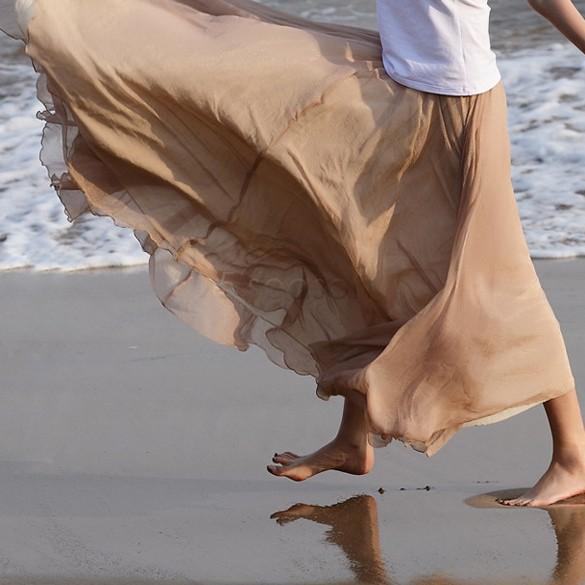 2013 Summer New Women Bohemian Restore Shinning Chiffon Long Maxi Skirt 7Colors 14273 #16(China (Mainland))