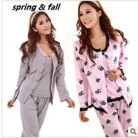 1pcs women spring & fall sleepwear long-sleeve lace spaghetti strap vest grey and pink rose cotton three-piece pajamas  M,L,XL