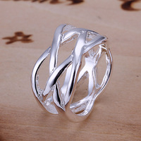 Free Shipping 925 Sterling Silver Ring Fine Fashion Fish Net Silver Jewelry Ring Women&Men Gift Finger Rings SMTR010