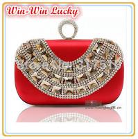 2014 Hot Style Women's Handbag. High-end Silk Luxury Crystal Diamond Ring Wedding Clutch. Shoulder Messenger Chain Evening Bag