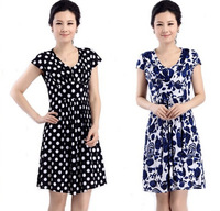 2014 new women summer floral dress middle-aged middle-aged mother dress skirt women summer short-sleeved big yards