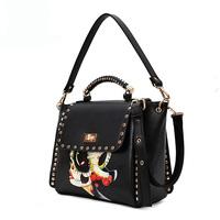 Free Shipping black shoulder bag Rivet designer  2013 fashion national style women handbag high quality messenger package