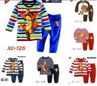 Children New Cotton Long Sleeve Cartoon Tiger striped Pajamas Baby Girl Boys Sleepwear Kids Blue pyjamas clothes sets 6set/lot