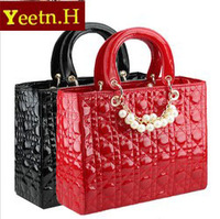 3335  wholesale Noble black Elegant pearls decoration bags classical plaid bag women handbag