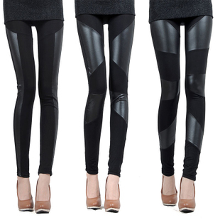 FREE 2014 New Sexy Lady Stitching Stretchy Faux Leather Back Leggings Pant Lrs hot sale(China (Mainland))