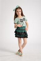 free shipping green plaid t shirt girl kids cute skirt set 2013 fashion christmas summer baby girls clothing sets girls fashion