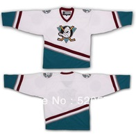 Custom Ice Hockey Cheap Customized Mighty Ducks Of Anaheim Jersey 1996-06 White/Green Your Name Your Number Any Size