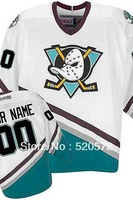 Custom Ice Hockey Mighty Ducks Of Anaheim Jerseys 1996-06 White/Green - Customized Any Name And Number Swen On (S-4XL)