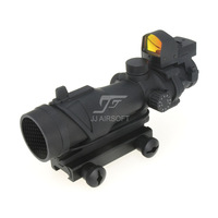 JJ Airsoft ACOG Style 4x32 Scope Illumination with Docter Mini Red Dot & Killflash / Kill Flash (Black) FREE SHIPPING