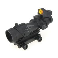 JJ Airsoft ACOG Style 4x32 Scope Illumination with Docter Mini Red Dot & Killflash / Kill Flash (Black) FREE SHIPPING