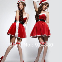 promotion christmas costume off shoulder dress set with  cap lace glove fanny santa claus suit party derss bar waitress uniform