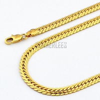 Fashion Jewelry Mens Womens 5mm Herringbone Solid Curb Link Chain 18K Yellow Gold Filled Necklace GFN01