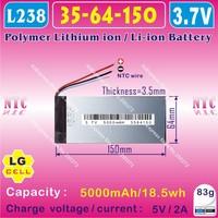[L238] 3.7V,5000mAH,[3564150]  PLIB (polymer lithium ion battery / LG cell ) Li-ion battery  for tablet pc,GPS,power bank