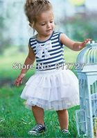 Hot selling striped baby chiffon layers bow knot  sleeveless vest dresses tank dress bow girls dresses 15 pcs/lot H055